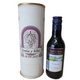 Botellin Vino Tinto Joven Mayoral en lata personalizada