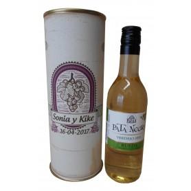 Botellín vino blanco Pata Negra en lata personalizada