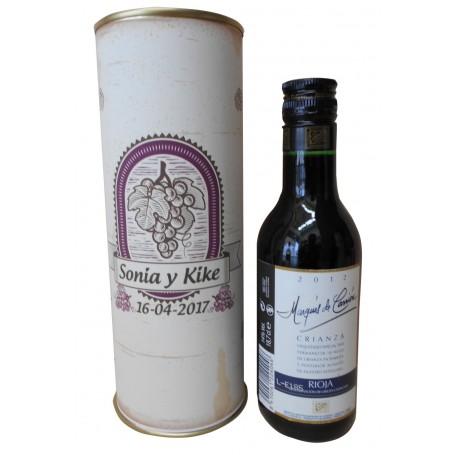 Botellin Vino Tinto Crianza Marques Carrion en lata personalizada