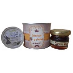 Lata personalizada con miel y crema de queso de cabra
