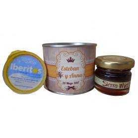 Lata personalizada con miel y crema de queso azul