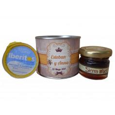 Miniatura de miel y crema de queso azul en lata personalizada