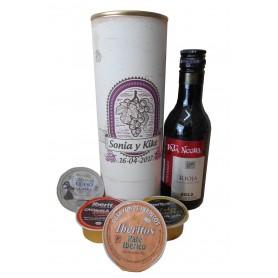Botellin Vino tinto Pata Negra con paté y crema de jamón en lata personalizada