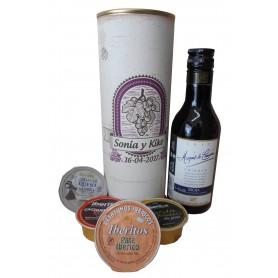 Botellin Vino tinto Marqués de Carrión Crianza con paté y crema de queso de cabra en lata personalizada