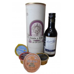 Botellin Vino tinto Marqués de Carrión Crianza con paté y crema de queso azul en lata personalizada