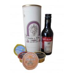 Botellin Vino tinto Pata Negra con paté y crema de queso azul en lata personalizada