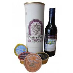 Botella de vino Tinto Mayoral con paté y queso azul en lata