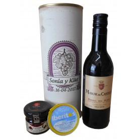 Botella de vino Tinto Mayor de Castilla con crema de queso azul y mermelada en lata personalizada
