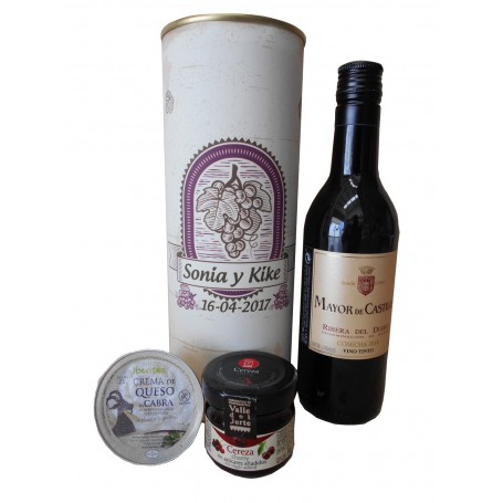 Botella de vino tinto Mayor de Castilla con crema de queso de cabra y mermelada en lata personalizada
