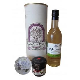 Botella de vino blanco Pata Negra con crema de queso de cabra y mermelada en lata personalizada