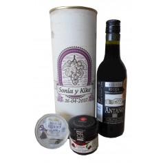 Botella de vino tinto Crianza Antaño con crema de queso de cabra y mermelada en lata personalizada