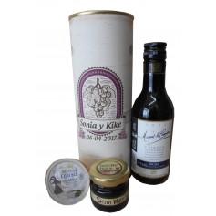 Botella de vino Marques de Carrion con crema de queso de cabra y miel en lata personalizada