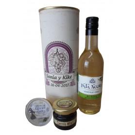 Botella de vino blanco Pata Negra con crema de queso de cabra y miel en lata personalizada