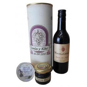 Botella de vino Marques de Castilla con crema de queso de cabra y miel en lata personalizada