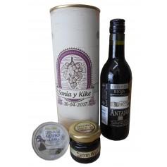 Botella de vino Crianza Antaño con crema de queso de cabra y miel en lata personalizada