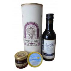 Botella de vino Crianza Marques de Carrion con crema de queso de azul y miel en lata personalizada