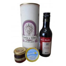 Botella de vino Crianza Pata Negra con crema de queso de azul y miel en lata personalizada