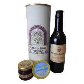 Botella de vino tinto Mayor de Castilla con crema de queso de azul y miel en lata personalizada
