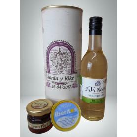 Botella de vino blanco Pata Negra con crema de queso de azul y miel en lata personalizada