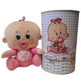 Peluche bebé rosa de 25 cm en lata con abre fácil