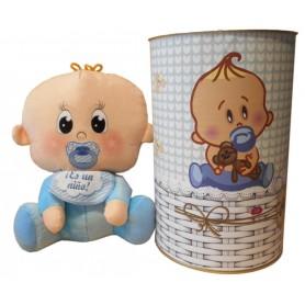 Peluche bebé niño de 25 cm en lata con abre fácil