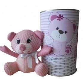 Peluche Oso rosa de 19 cm en lata con abre fácil