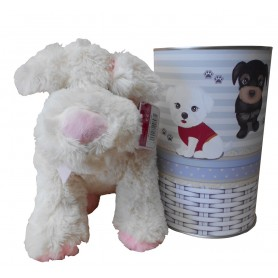 Peluche perro blanco y rosa de 28 cm en lata con abre fácil