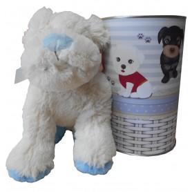 Peluche perro blamco y azul de 28 cm en lata con abre fácil