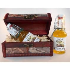 Botellín Aceite Virgen Extra en baúl de madera