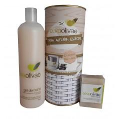 Lote de Gel de baño y Jabón natural Olivaolivae en lata con abre fácil