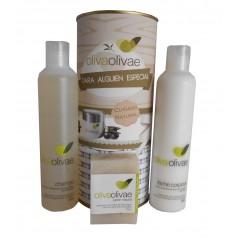 Lote de Champú, leche corporal y jabón natural Olivaolivae en lata con abre fácil