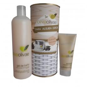Lote de Gel de baño y exfoliante Olivaolivae en lata con abre fácil