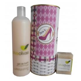 Lote de cosméticos para regalo mujer con Gel de baño y Jabón natural en lata con abre fácil