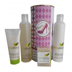 Lote de cosméticos Crema de Manos, Champú, Jabón Natural y Leche Corporal en lata con abre fácil