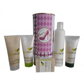 Lote de cosméticos Exfoliante, Crema de Manos, Jabón Natural, Lecha Corporal y Crema de Pies enlata con abre fácil