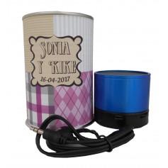 Altavoz Radio metálico BLUETOOTH en lata personalizada con abre fácil para detalle mujer