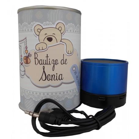 Altavoz Radio metálico BLUETOOTH en lata personalizada con abre fácil para detalle bautizo