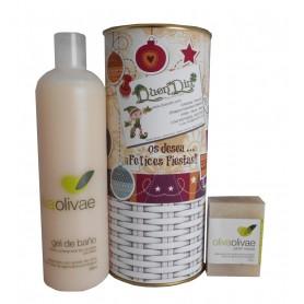 Lote de cosméticos Gel de baño y Jabón natural para regalo Navidad en lata con abre fácil