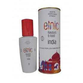 Aceite especiado que identifica la cocina India en lata con abre fácil
