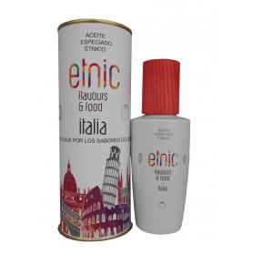 Aceite condimentado que identifica la gastronomía Italia en lata con abre fácil