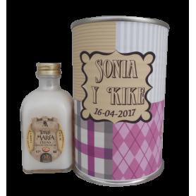 Licor crema arroz con leche para detalle de boda mujer en lata