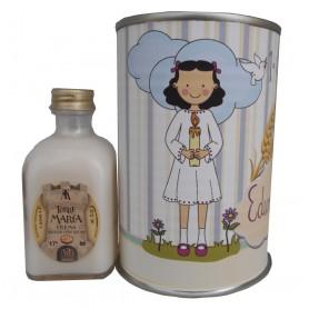 Licor crema arroz con leche en lata para detalle comunion con dibujo niña con vela