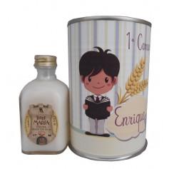 Licor crema arroz con leche en lata con dibujo niño comunion leyendo