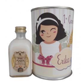 Licor crema arroz con leche en lata para detalle de comunion niña