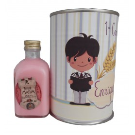 Licor fresas con nata en lata para detalle de comunion niño