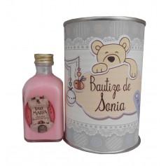 Licor fresas con nata en lata para detalle de bautizo