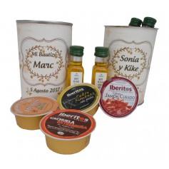 Lata con abre fácil con aceite de Oliva Virgen extra, paté y crema de jamón