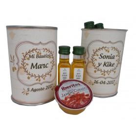 Lata personalizada con aceite Virgen Extra, vinagre de Jerez y crema de Jamon