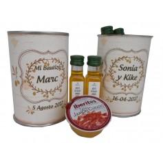 Lata personalizada con Aceite de Oliva Virgen Extra y crema de Jamon