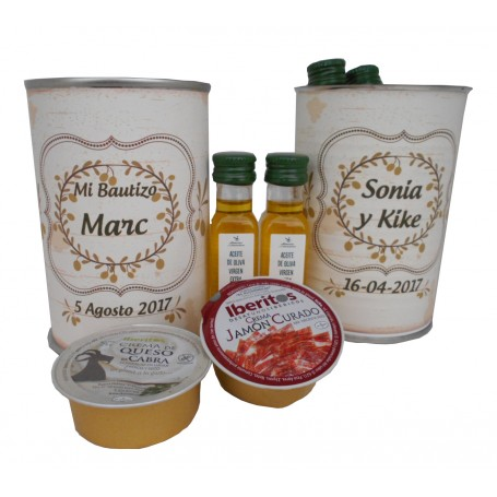 Lata personalizada con aceite Virgen extra, vinagre de Jerez, crema de jamón y crema de queso de cabra
